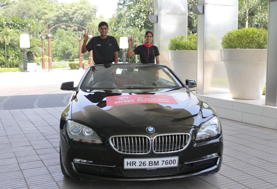 Airtel Delhi Half Marathon 2012 winners with BMW